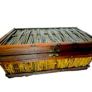 Vintage wood and bamboo chest hand crafted